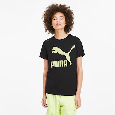 Classics Logo Damen T-Shirt, Puma Black-lime, small