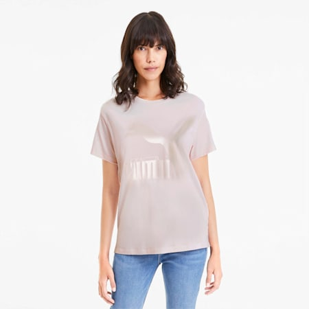 T-Shirt Classics Logo pour femme, Rosewater-mettalic, small