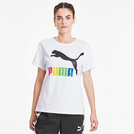 Damska koszulka Classics Logo, Puma White-Multi colour OG, small