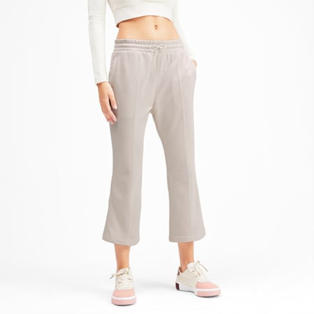 Classics Kick Flare Knitted Women's Pants, Pastel Parchment, small-IND