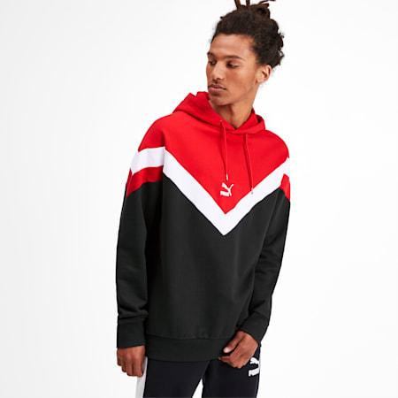 Iconic MCS Men's Hoodie, Puma Black-Red combo, small