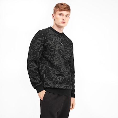 Epoch Men's AOP Crewneck Sweatshirt, Puma Black-AOP, small