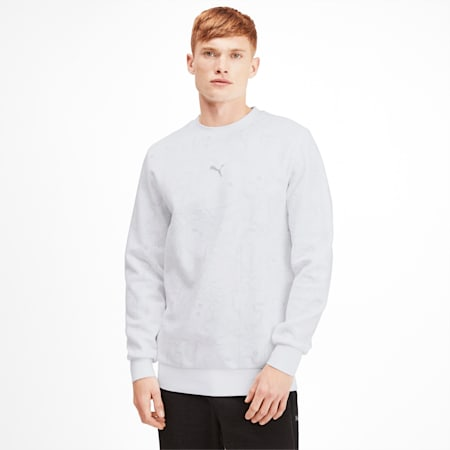 Epoch Crew Men's Sweater, Puma White-AOP, small-SEA