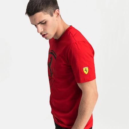 T-shirt Ferrari Big Shield para homem, Rosso Corsa, small