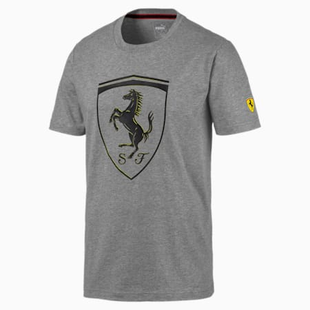 Ferrari Big Shield Men's Tee, Medium Gray Heather, small-SEA