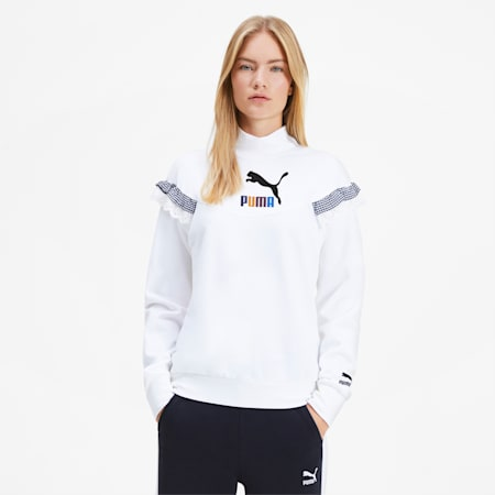 PUMA x TYAKASHA Damen Turtleneck Sweatshirt, Puma White, small