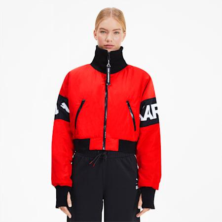 PUMA x KARL LAGERFELD Women's Bomber Jacket, High Risk Red, small-SEA