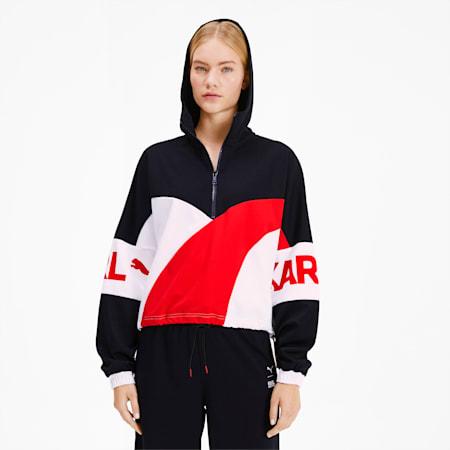 PUMA x KARL LAGERFELD XTG Hooded Half Zip Women's Sweater, Puma Black, small-SEA