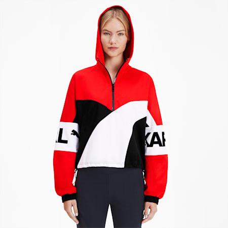 PUMA x KARL LAGERFELD XTG Hooded Half Zip Women's Sweater, High Risk Red, small-SEA