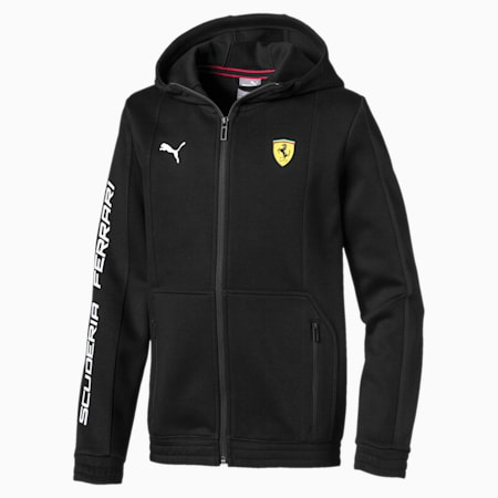 Ferrari Hooded Kids' Sweat Jacket, Puma Black, small-IND