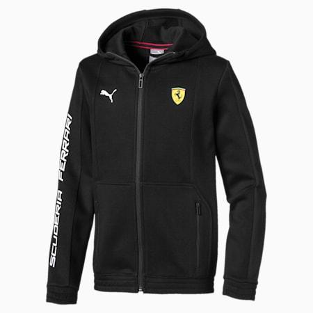 Ferrari Hooded Kids' Sweat Jacket, Puma Black, small-IND