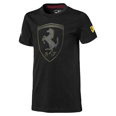 Scuderia Ferrari  Unisex Kids Big Shield T-shirt, Puma Black, small-IND