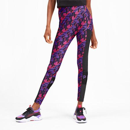 PUMA XTG Women's AOP Leggings, Purple Glimmer-AOP, small