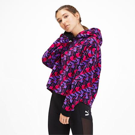 XTG Fleece Women's Hoodie, Purple Glimmer-AOP, small-IND
