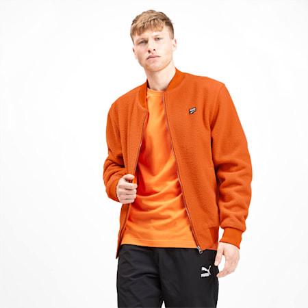 Downtown Men's Sherpa Jacket, Jaffa Orange, small