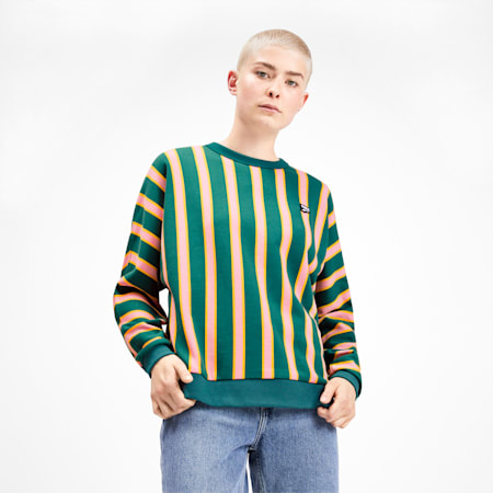 Downtown Stripe Crew Neck Women's Sweater, Teal Green, small-SEA