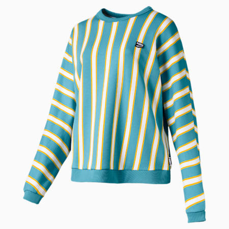 Downtown Stripe Crew Neck Women's Sweater, Milky Blue, small-SEA