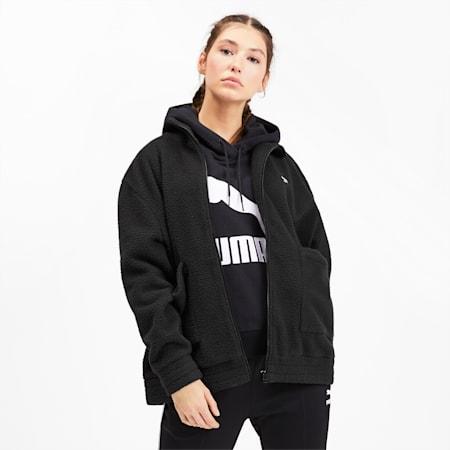 Downtown Women's Sherpa Jacket, Puma Black, small