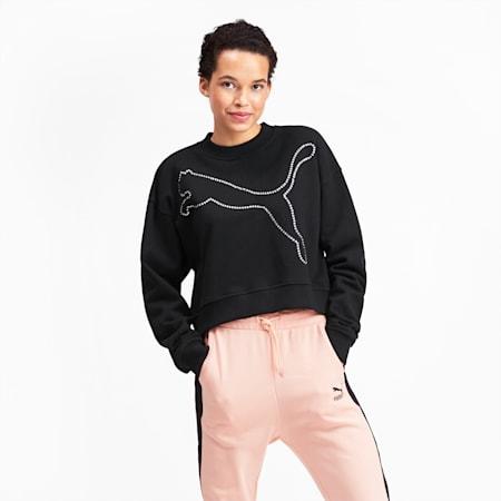 Rhinestone Women's Crewneck Sweatshirt, Puma Black, small