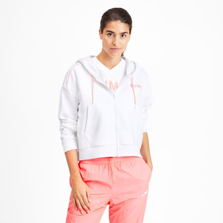 Chase Women's Cropped Full Zip Hoodie, Puma White, small