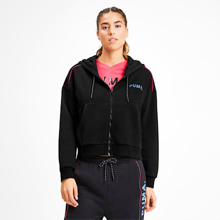 Chase Cropped Full Zip Women's Hoodie, Puma Black, small-IND