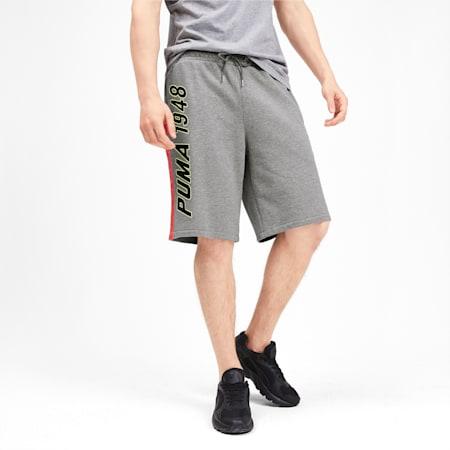 luXTG Men's Bermuda Sweatpants, Medium Gray Heather, small-IND