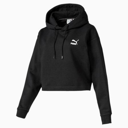 Claw Women's Cropped Hoodie, Puma Black, small