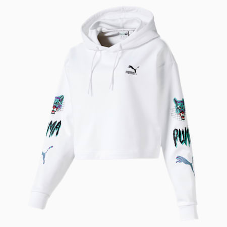 Claw Women's Cropped Hoodie, Puma White, small