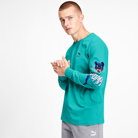 Claw Pack Men's Long Sleeve Tee, Blue Turquoise, small