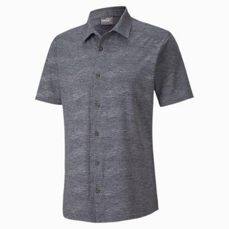 Easy Living Short Sleeve Men's Golf Shirt, Peacoat Heather, small-SEA