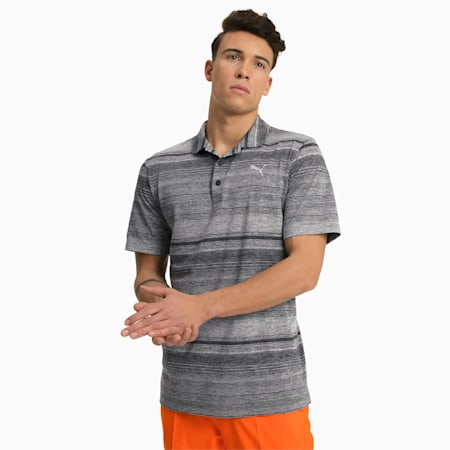 Variegated Stripe Herren Golf Polo, Puma Black Heather, small