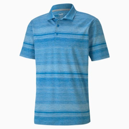 Polo de golf Variegated Stripe pour homme, Ibiza Blue Heather, small