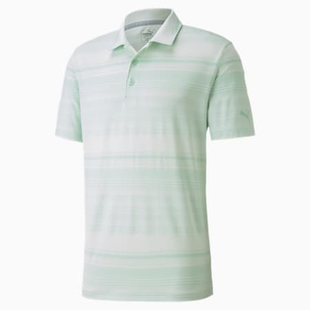 Polo à rayures Variegated, homme, Vert brume chiné, petit