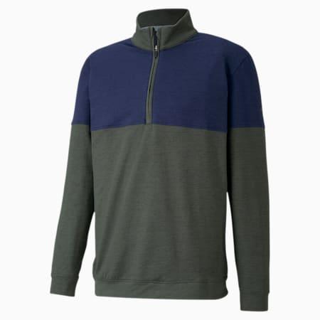클라우드 스판 웜업 1/4 집업 긴팔 티셔츠/Cloudspun Warm Up ¼ Zip, Thyme-Peacoat, small-KOR