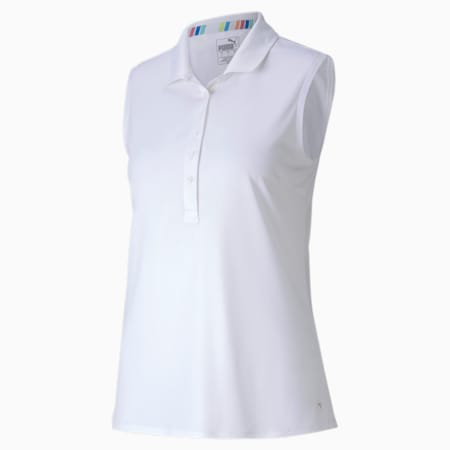 Rotations mouwloos golfpoloshirt dames, Bright White, small