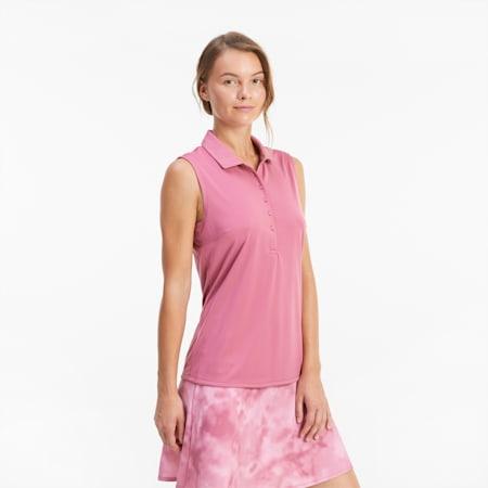 Damska golfowa koszulka polo Rotation bez rękawów, Rose Wine, small