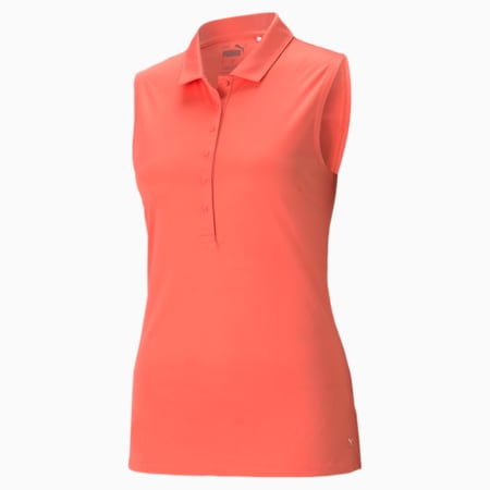 Rotation Sleeveless Women's Golf Polo Shirt, Georgia Peach, small
