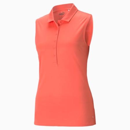 Rotation Sleeveless Women's Golf Polo Shirt, Georgia Peach, small-GBR