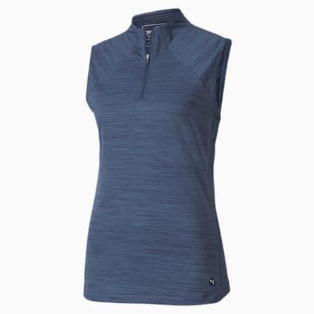Damska koszulka polo bez rękawów i z niepełnym kołnierzem Daily, Dark Denim Heather, small