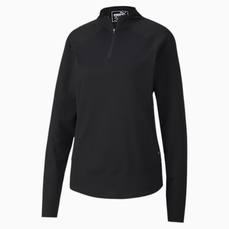 Mesh 1/4 Zip Women's Golf Pullover, Puma Black, small