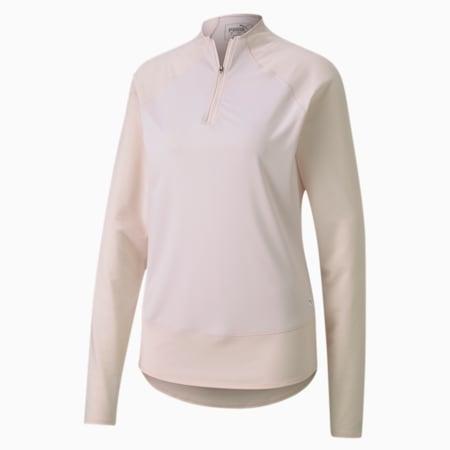 Mesh 1/4 Zip Damen Golf Pullover, Rosewater, small