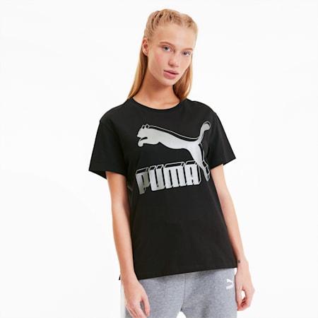 CLASSICS ロゴ ウィメンズ SS Tシャツ 半袖, Puma Black-metallic, small-JPN