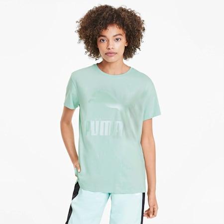 CLASSICS ロゴ ウィメンズ SS Tシャツ 半袖, Mist Green-mettalic, small-JPN