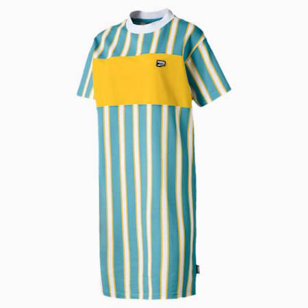 ダウンタウン ウィメンズ ストライプ ドレス, Milky Blue, small-JPN