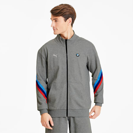 BMW M Motorsport Life Men's Sweat Jacket, Medium Gray Heather, small