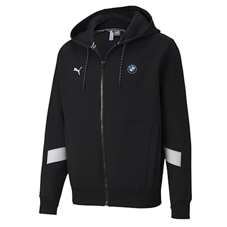 BMW M Motorsport Hooded Sweat Jacket, Puma Black, small-IND