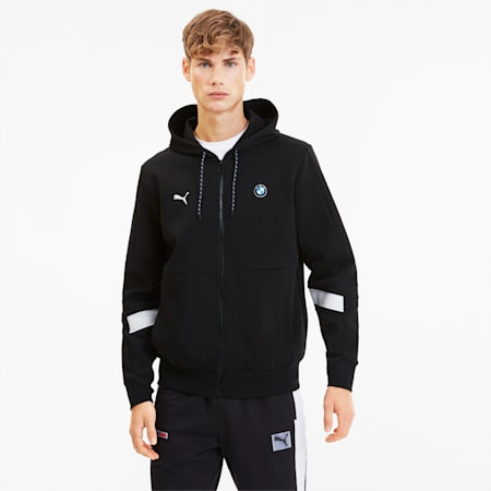 BMW M Motorsport Men's Hooded Sweat Jacket, Puma Black, small
