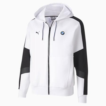 BMW M Motorsport Hooded Men's Sweat Jacket, Puma White, small