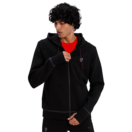Ferrari Hooded Sweat Jacket, Puma Black, small-IND