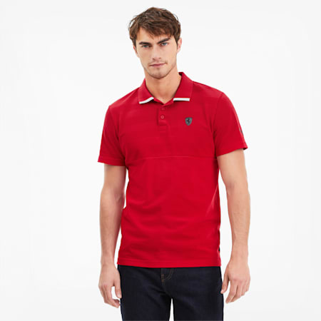 Scuderia Ferrari Striped Men's Short Sleeve Polo, Rosso Corsa, small-SEA